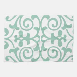 Trendy Mint Green Damask Pattern Kitchen Towel