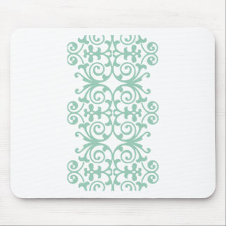 Trendy Mint Green Damask Pattern Mouse Pad