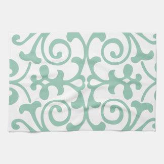 Trendy Mint Green Damask Pattern Towels