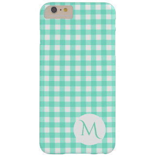 Trendy Mint Green Gingham Checked Pattern Monogram Barely There iPhone 6 Plus Case