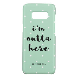 Trendy Mint Green Polka Dots | I'm Outta Here Case-Mate Samsung Galaxy S8 Case