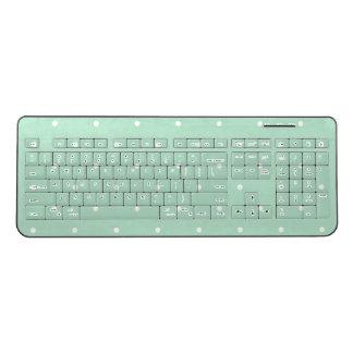 Trendy Mint Green Polka Dots Wireless Keyboard