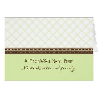 Trendy Mint Plaid Photo (inside) Thank You Card