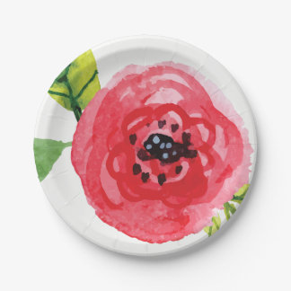 Trendy Mixed Pinks Painted Flower | Paper Plate 7 Inch Paper Plate