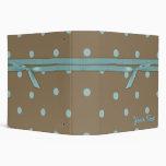 Trendy Mocha and Turquoise Dotty binder