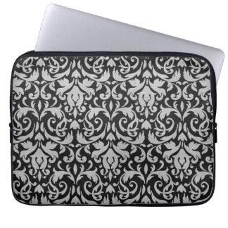 Trendy & Mod Black Gray Damask Laptop Sleeve