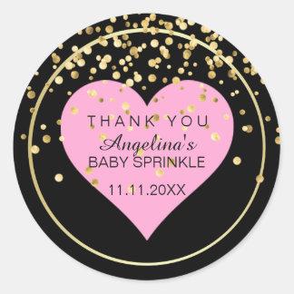 Trendy Modern Baby Pink Heart Black Gold Sprinkle Round Sticker