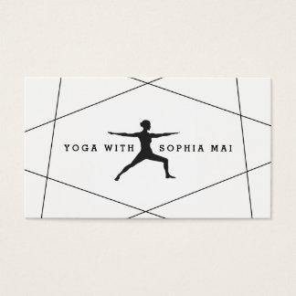 Trendy Modern Black & White Blue Yoga Instructor Business Card