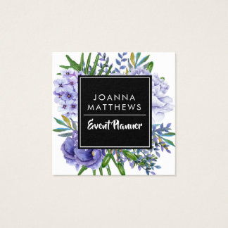 Trendy Modern Blues Floral Square Business Cards