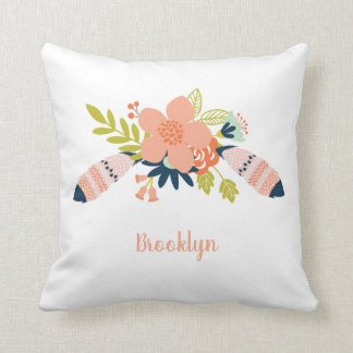 Trendy Modern Boho Feathers and Floral Pillow
