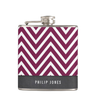 TRENDY modern chevron pattern gray maroon plum Flask