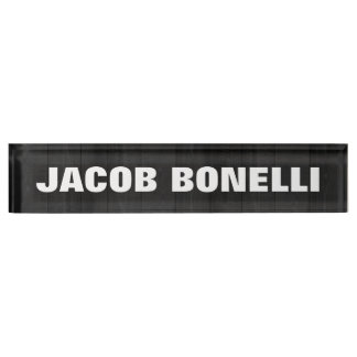 Trendy Modern Creative Bold Text Minimalist Grey Nameplate