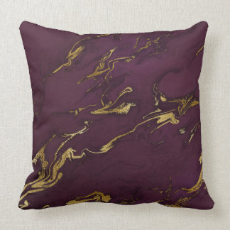 Trendy Modern Deep Purple and Gold Marble Throw Pillow