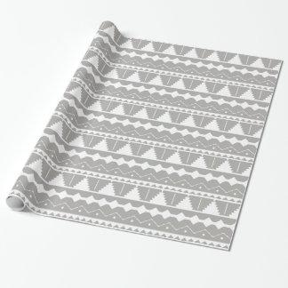 Trendy Modern Gray & White Aztec Print Wrapping Paper