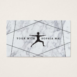Trendy Modern Marble Blue Yoga Instructor Business Card