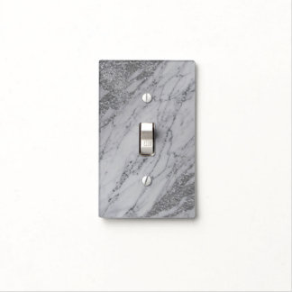 Trendy Modern Marble Elegant Silver Glam Chic Light Switch Cover