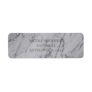 Trendy Modern Marble Silver Glamour Invitation