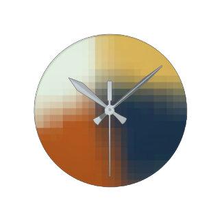 Trendy Modern Orange Blue Yellow Unique Pattern Round Clock