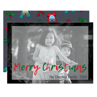 Trendy Modern Overlay Green Red Merry Christmas Card