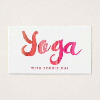 Trendy Modern Pink Yoga Instructor Business Card