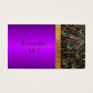 Trendy Modern Purple Peacock Wedding Save the Date Business Card
