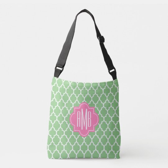 Trendy modern quatrefoil monogram crossbody bag