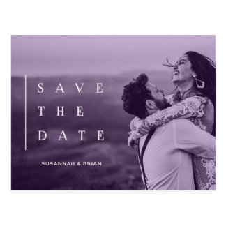 Trendy Modern SAVE THE DATE Ultra Violet Gradient Postcard