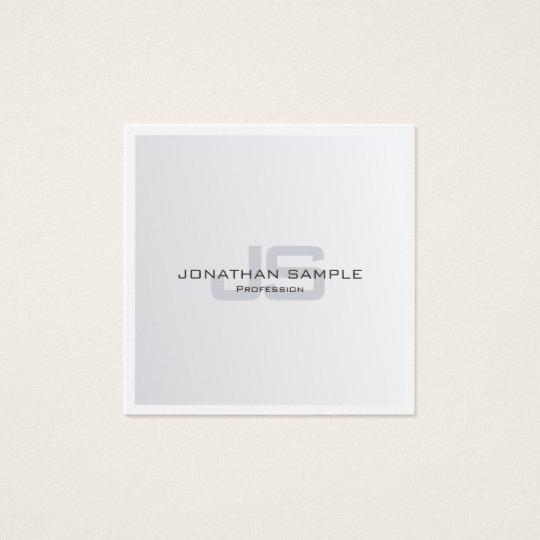Trendy Modern Silver Look Stylish Monogram Luxury Square Business Card