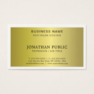 Trendy Modern Stylish Glamour Gold Look Plain Luxe Business Card