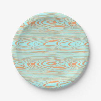Trendy modern teal orange wood grain pattern paper plate