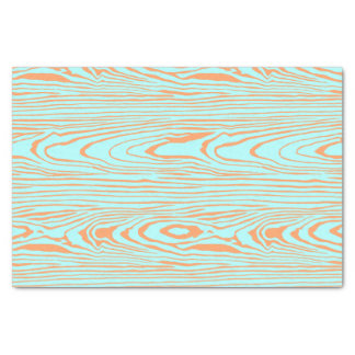 Trendy modern teal orange wood grain pattern tissue paper
