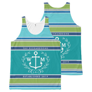 Trendy Monogram Anchor Laurel Wreath Stripes Aqua All-Over-Print Tank Top