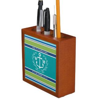 Trendy Monogram Anchor Laurel Wreath Stripes Aqua Desk Organizer