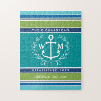 Trendy Monogram Anchor Laurel Wreath Stripes Aqua Jigsaw Puzzle
