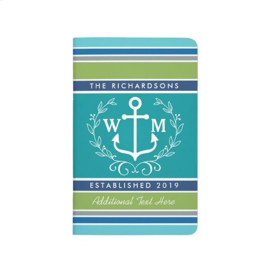 Trendy Monogram Anchor Laurel Wreath Stripes Aqua Journal