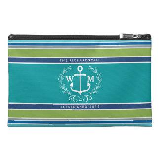 Trendy Monogram Anchor Laurel Wreath Stripes Aqua Travel Accessory Bag