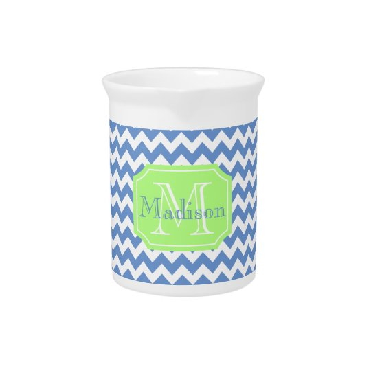 Trendy monogram and chevron pattern pitcher