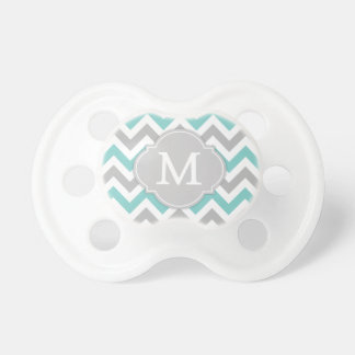 Trendy Monogram Blue and Gray Chevron Pacifiers