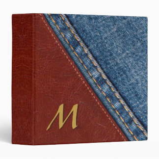 Trendy Monogram Denim and Leather Vinyl Binder