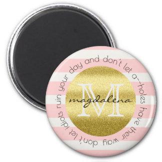 Trendy Monogram Gold Glitter Blush Pink Stripes 2 Inch Round Magnet