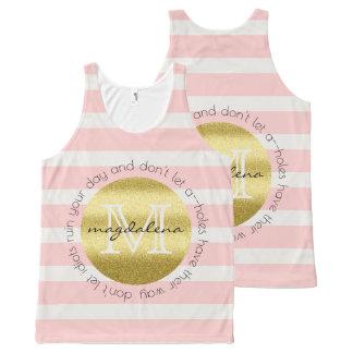 Trendy Monogram Gold Glitter Blush Pink Stripes All-Over-Print Tank Top