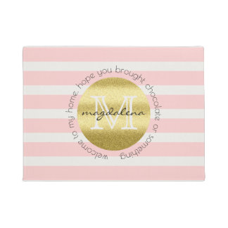 Trendy Monogram Gold Glitter Blush Pink Stripes Doormat