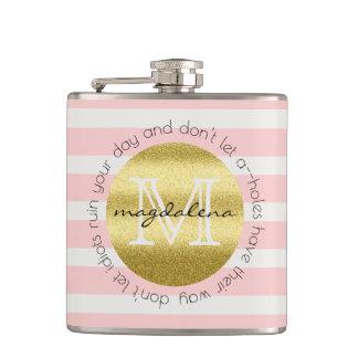 Trendy Monogram Gold Glitter Blush Pink Stripes Hip Flask