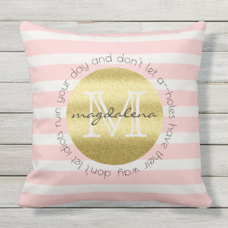 Trendy Monogram Gold Glitter Blush Pink Stripes Outdoor Pillow