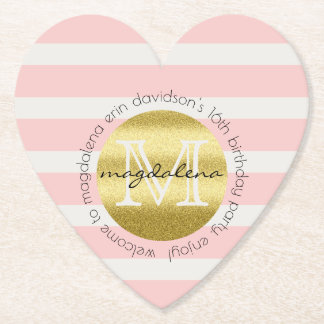 Trendy Monogram Gold Glitter Blush Pink Stripes Paper Coaster