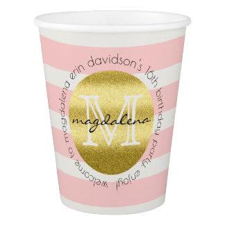 Trendy Monogram Gold Glitter Blush Pink Stripes Paper Cup