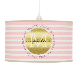 Trendy Monogram Gold Glitter Blush Pink Stripes Pendant Lamp