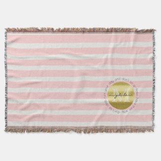 Trendy Monogram Gold Glitter Blush Pink Stripes Throw