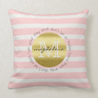 Trendy Monogram Gold Glitter Blush Pink Stripes Throw Pillow