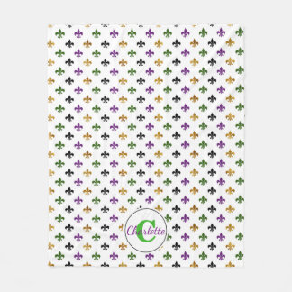 Trendy Monogram Mardi Gras Fleur De Lis Fleece Blanket